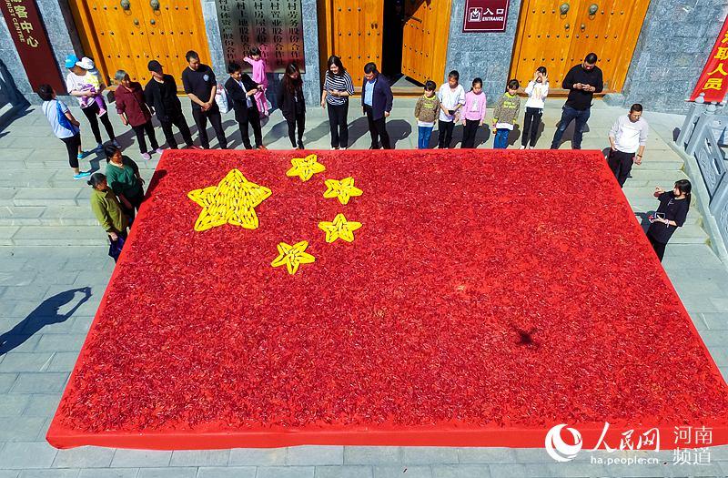 庆丰收河南农民用辣椒玉米摆巨幅国旗献礼祖国婴儿住院